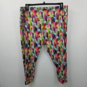 Fabletics Lima Capri Rainbow Chevron Print Legging Workout Pants Multi Size 2X
